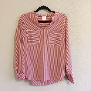 Cabi Red Patriotic Stripe Franklin Blouse Small